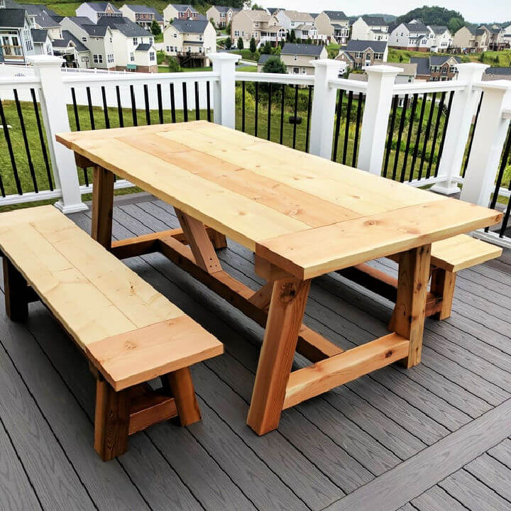 Truss Beam Farmhouse Style Outdoor Table