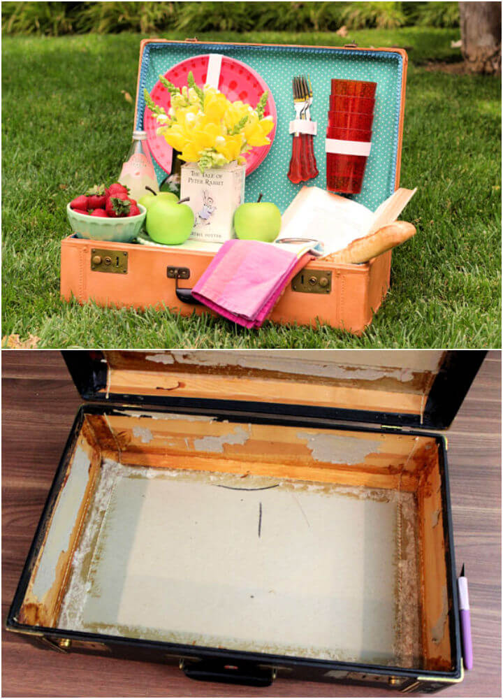 Turn an Old Suitcase Into Picnic Basket