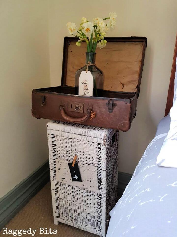 Vintage Farmhouse Suitcase Side Table
