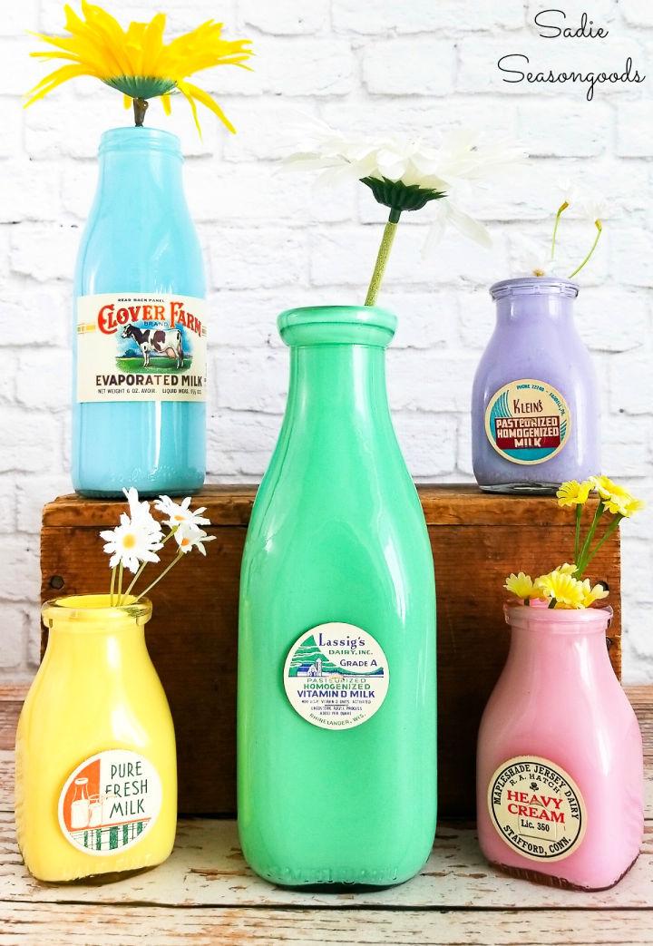 Vintage Glass Milk Bottle Vase