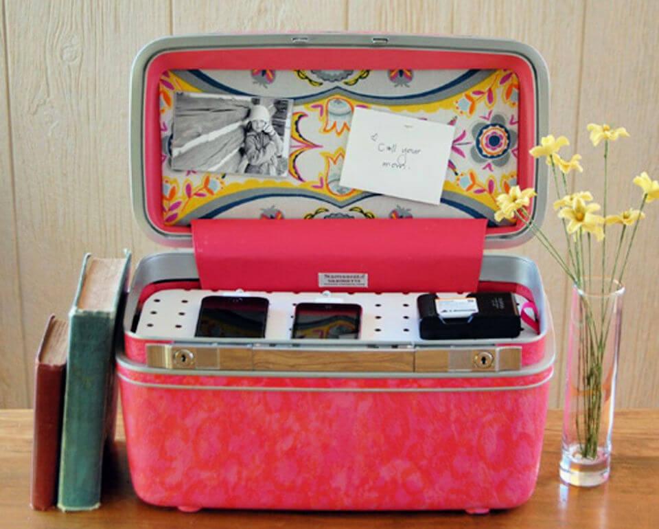 Vintage Suitcase Charging Station