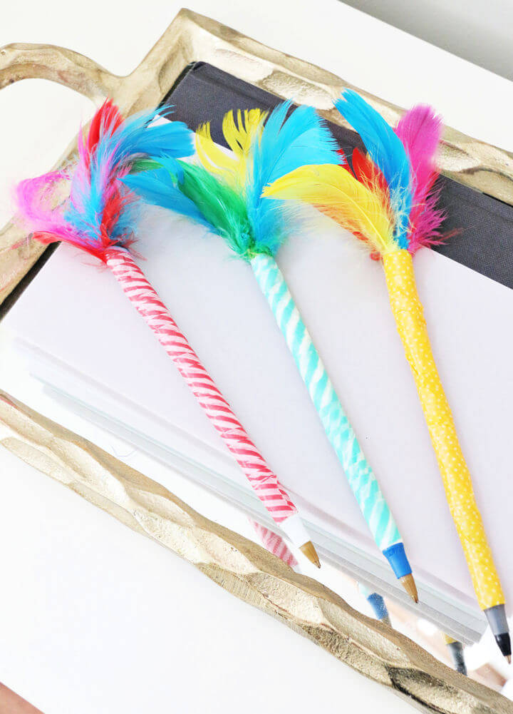 Washi Tape Feather Topped Pens