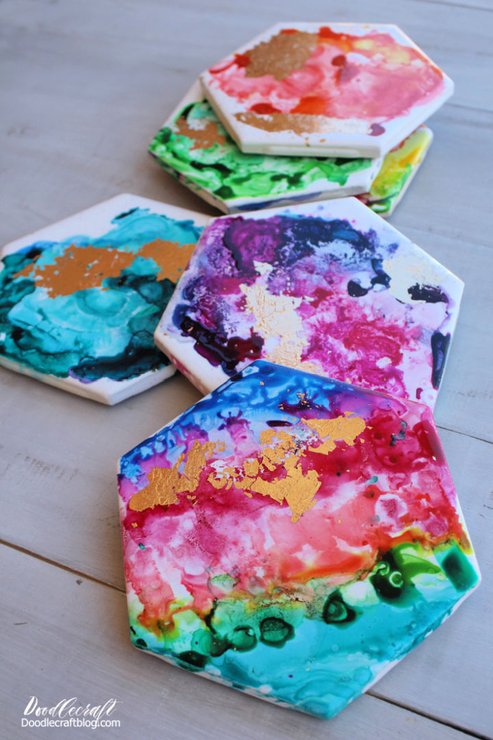 Watercolor Alcohol Ink and Gold Leaf Coasters