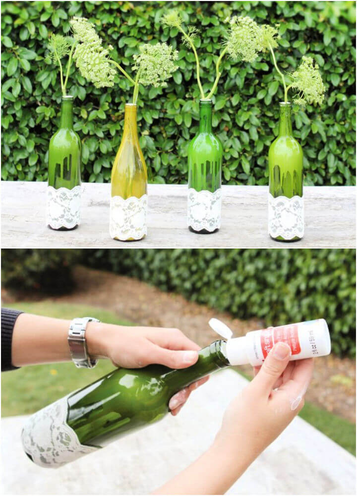 Wine Bottles and Lace Centerpiece