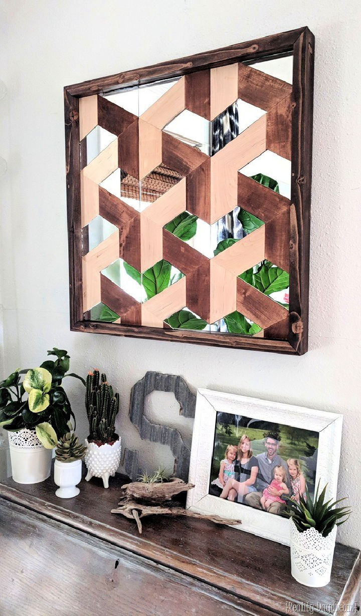 Wood and Mirror Geometric 3D Wall Art