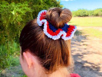 4th of July Crochet Hair Scrunchie