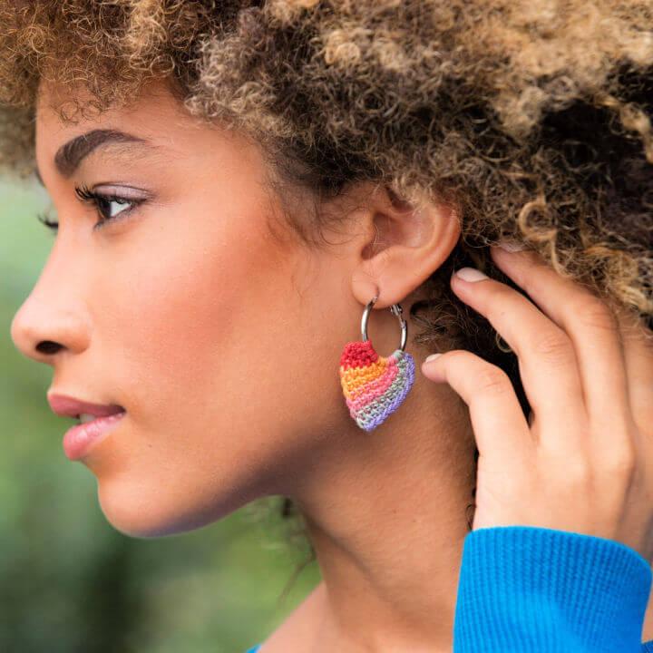 Aunt Lydias Crochet Tunisian Hoop Earrings