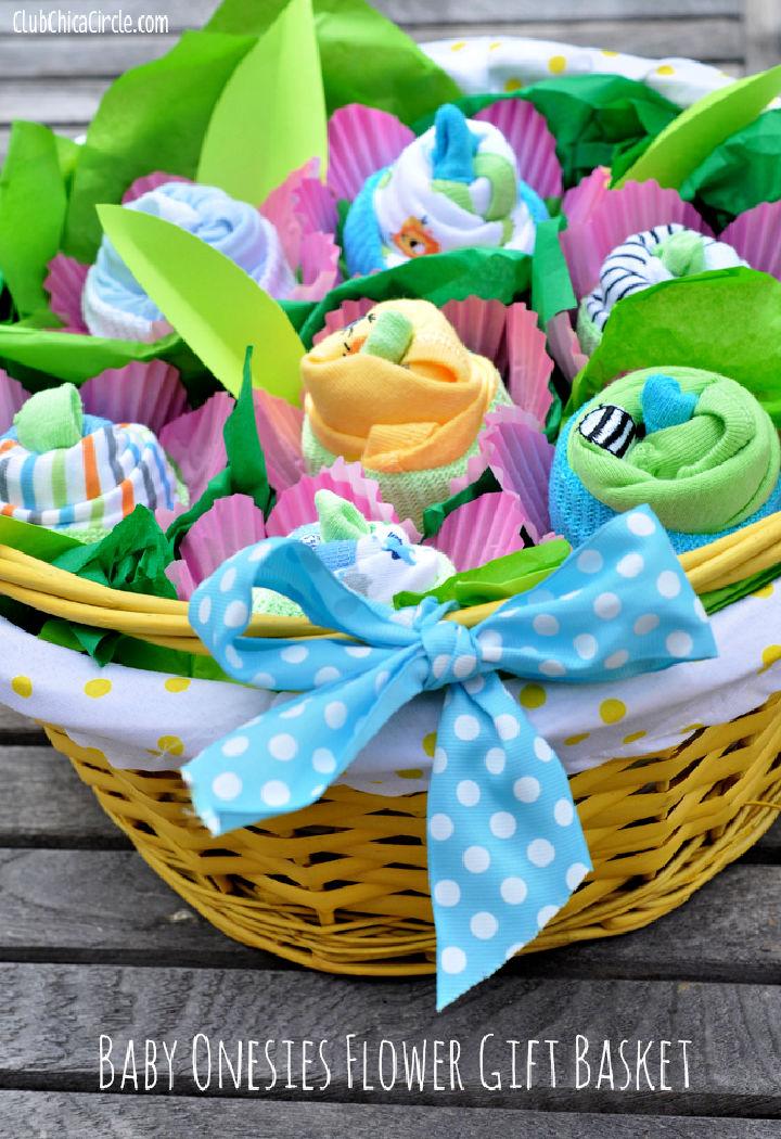 Baby Onesies Flower Gift Basket