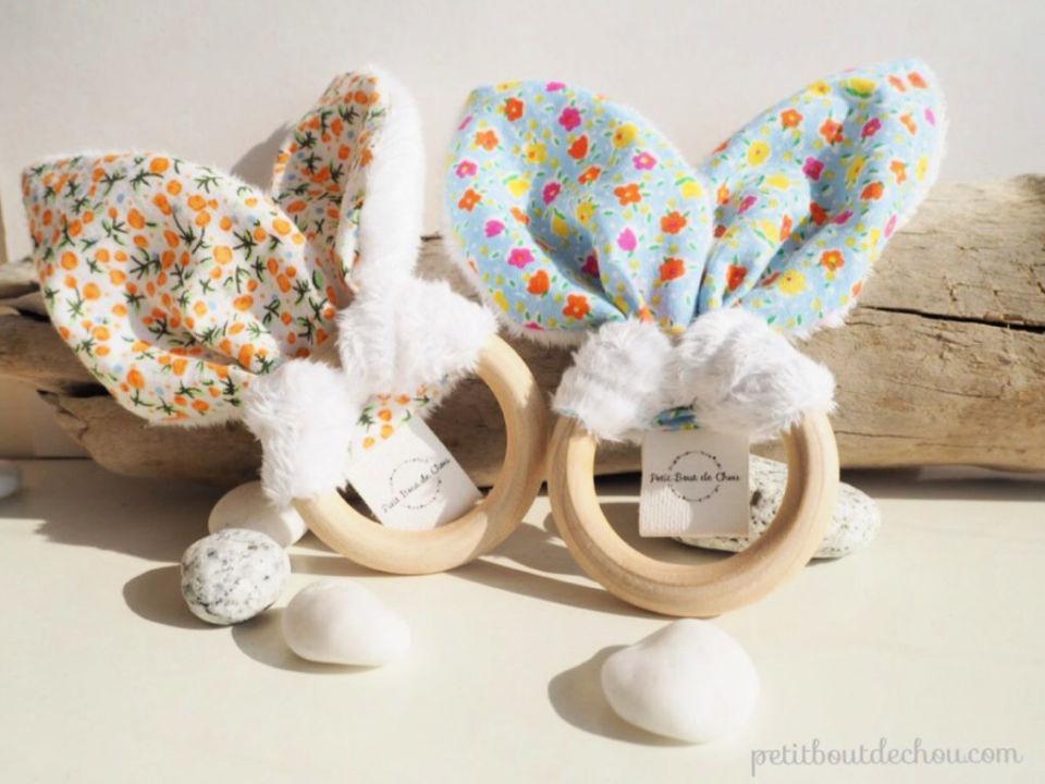 Bunny Ears Baby Teething Rattle