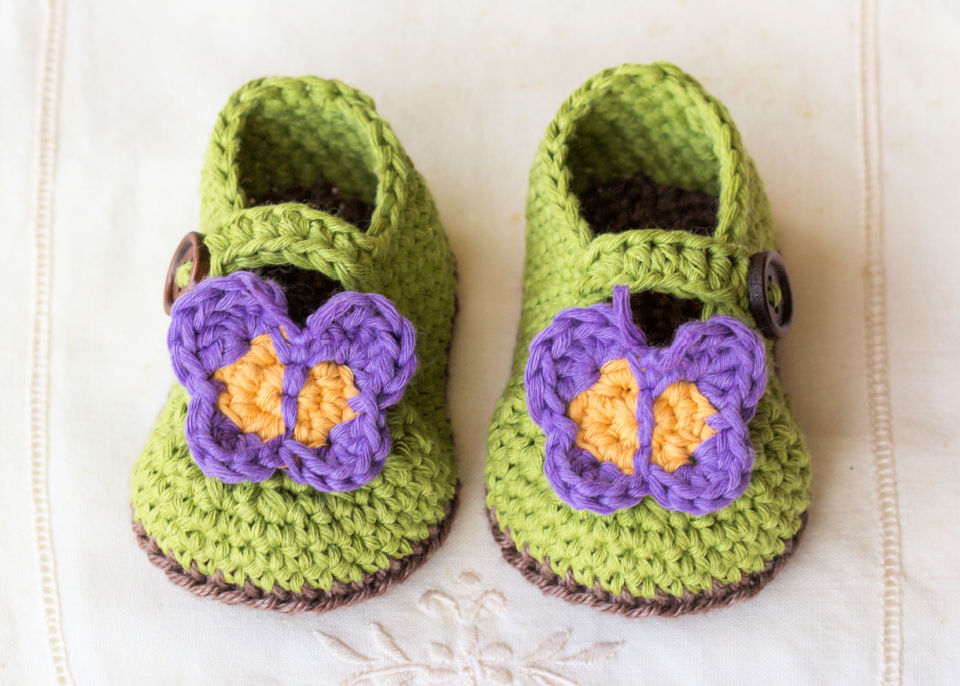 Butterfly Garden Crochet Baby Booties