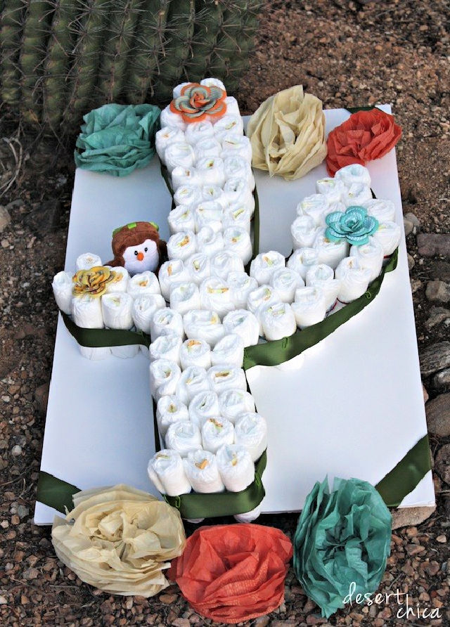 Cactus Diaper Cake with Baby Diapers