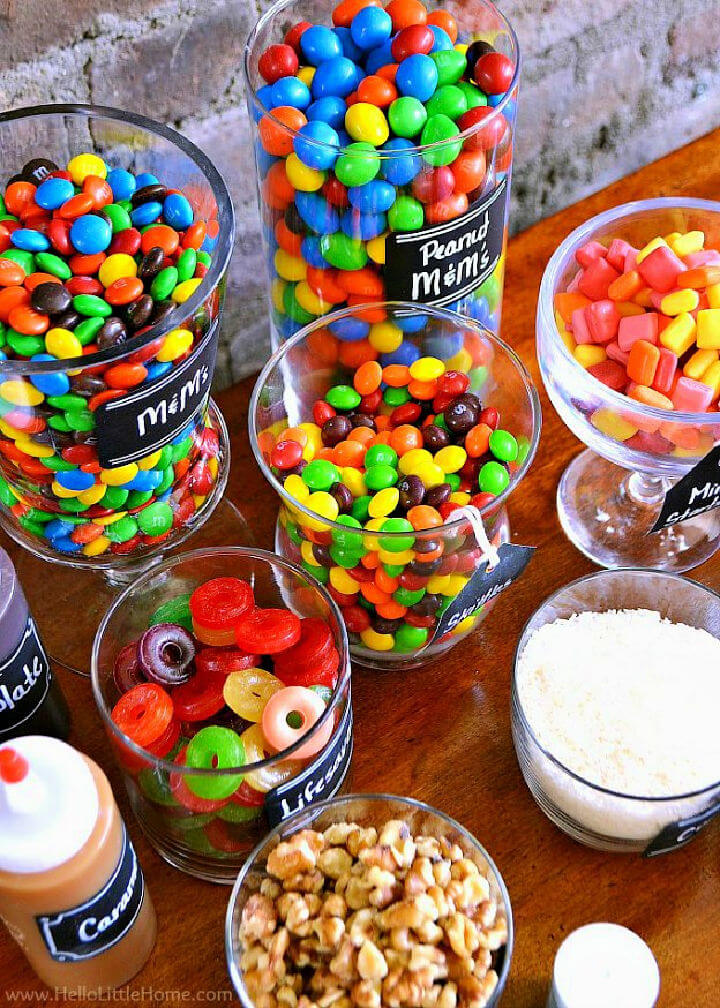 Candy Covered DIY Ice Cream Sundae Bar