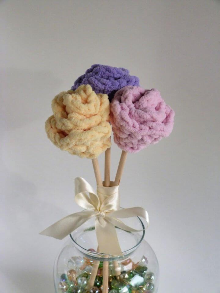 Chunky Crochet Spring Flower Bouquet