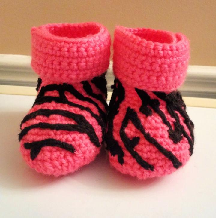 Crochet Baby Booties with Zebra Print