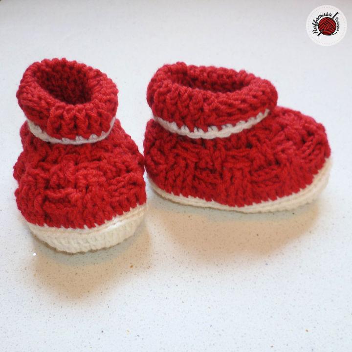 Crochet Basket Weave Baby Booties