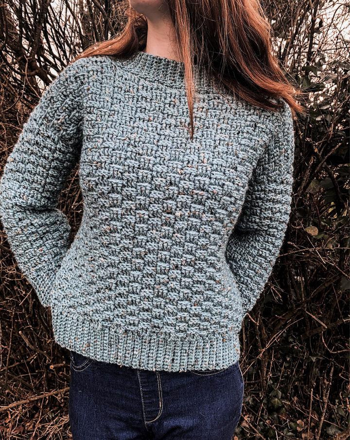 Crochet Basketweave Winter Sweater