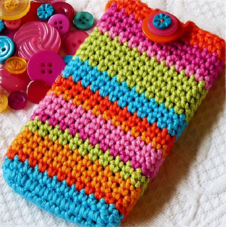 Crochet Bright and Stripy Mobile Phone Cover