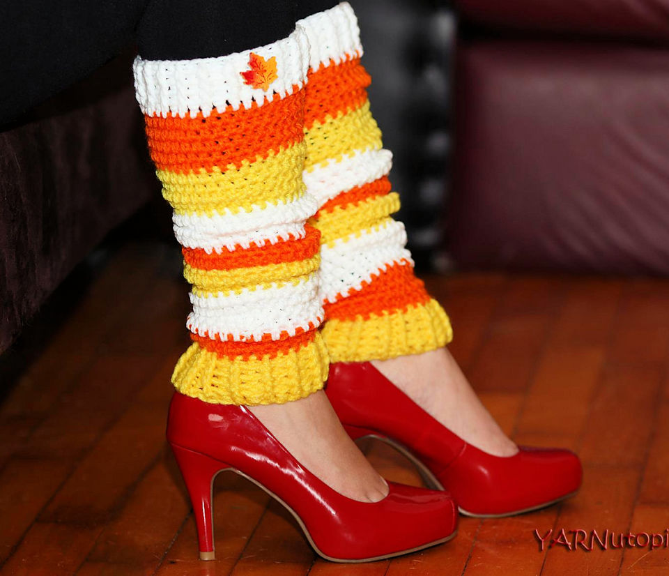 Crochet Candy Corn Leg Warmers