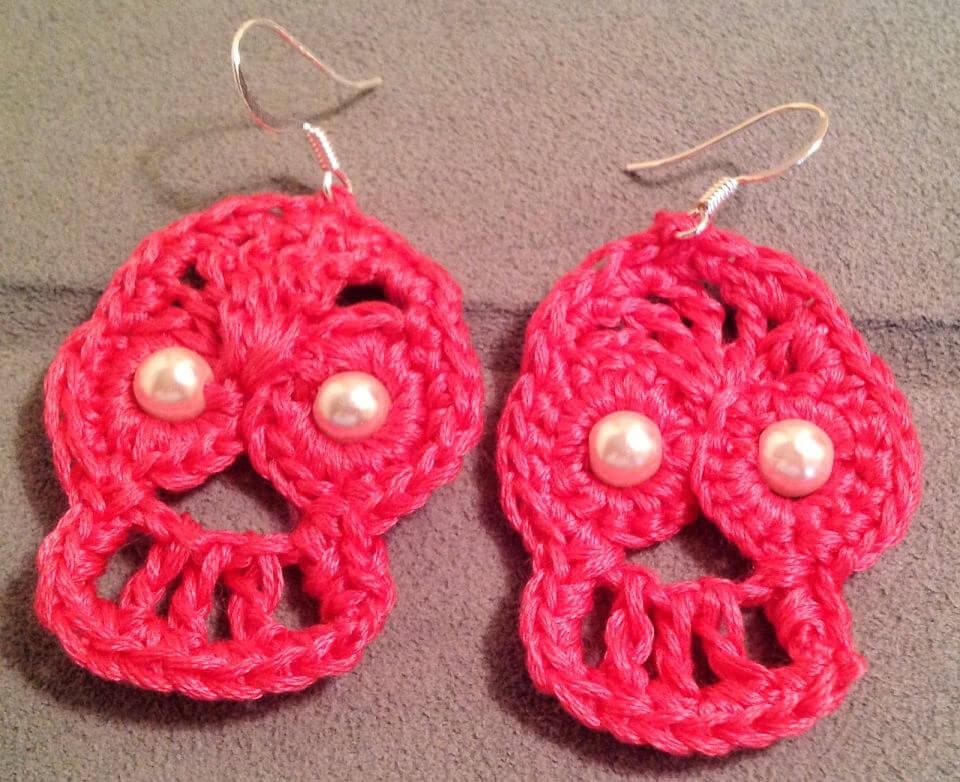 Crochet Day of the Dead Sugar Skull Earrings