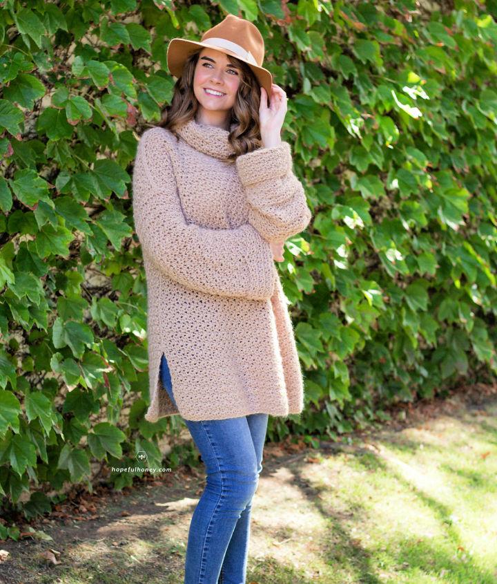 Crochet Fallow Fawn Roll Neck Sweater