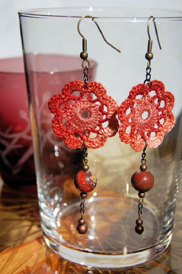 Crochet Flower Earrings Pattern