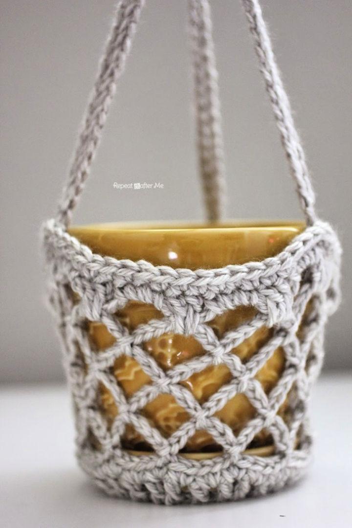 Crochet Flower Pot Hanging Basket