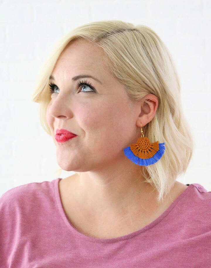 Crochet Fringe Statement Earrings
