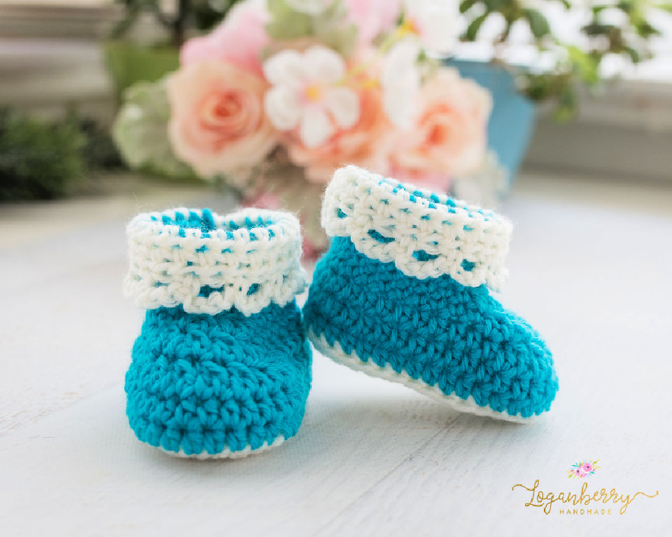 Crochet Lace Trim Baby Booties 3 6 Months