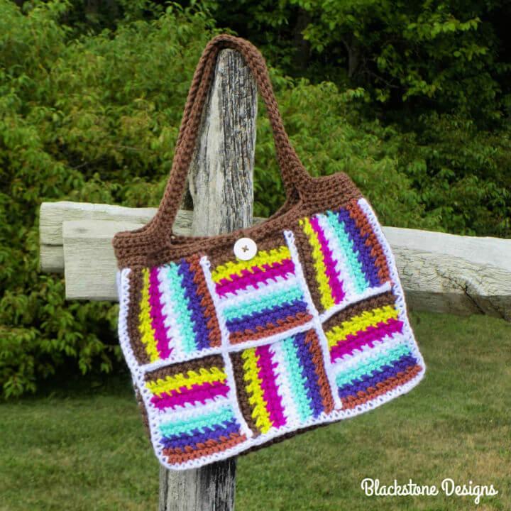 Crochet Patchwork Tote Bag