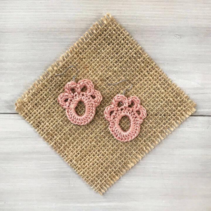 Crochet Paw Print Earrings