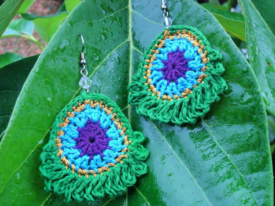 Crochet Peacock Earrings Free Pattern