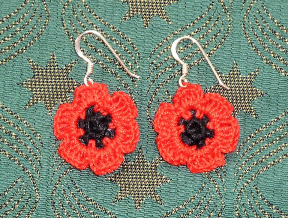 Crochet Poppy Earrings Pattern