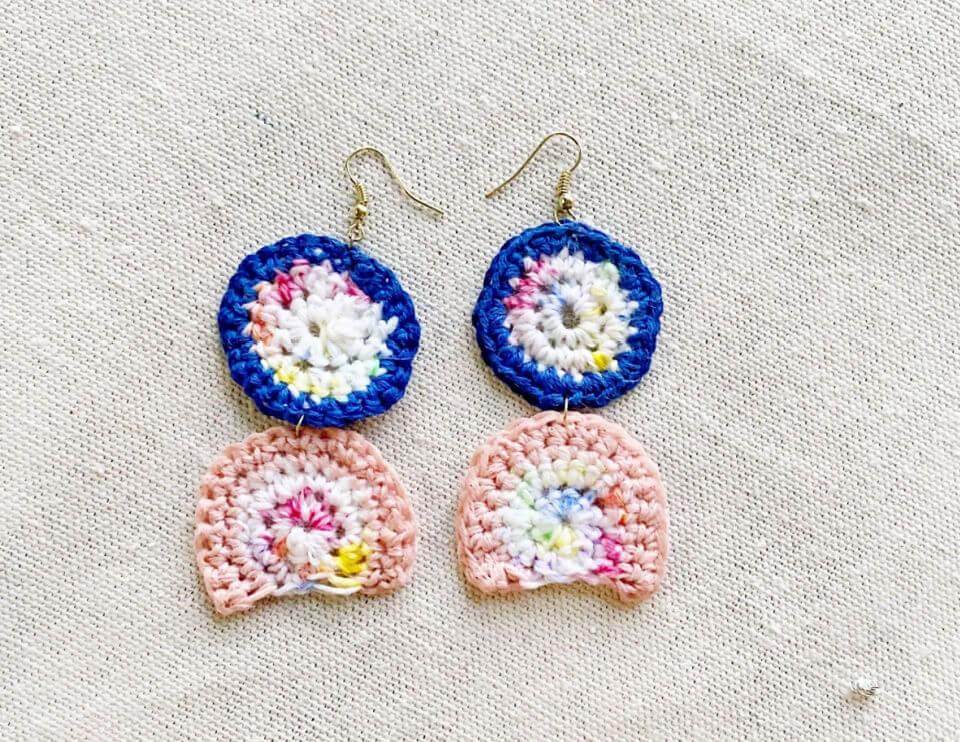 Crochet Rainbow Arc Earrings