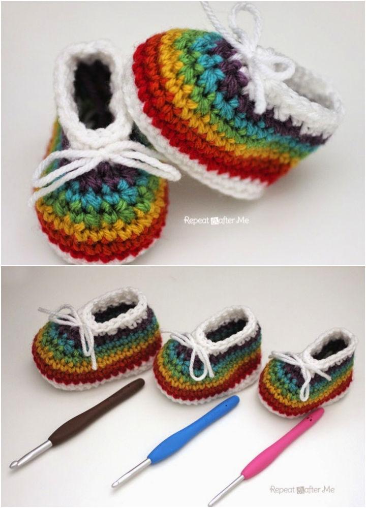 Crochet Rainbow Baby Booties
