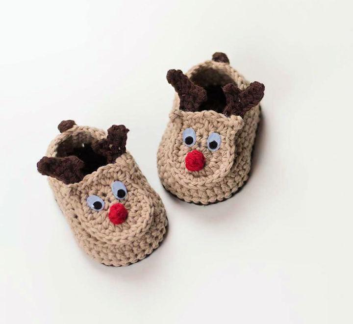 Crochet Reindeer Baby Booties 6 12 Months