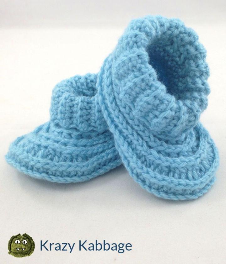 Crochet Ribbed Baby Boy Booties