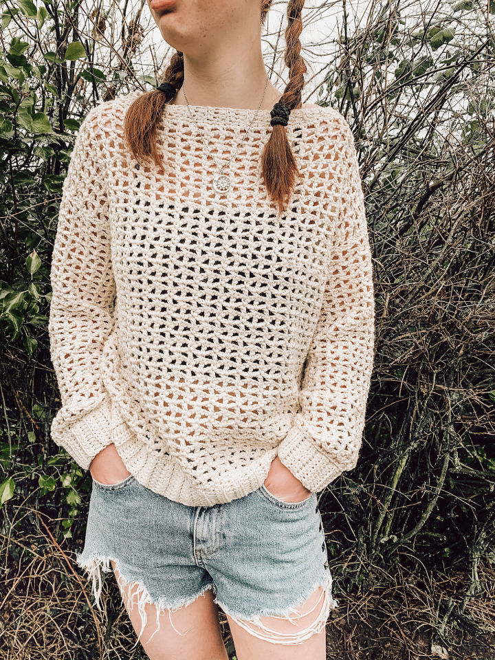 Crochet Spring Mesh Sweater