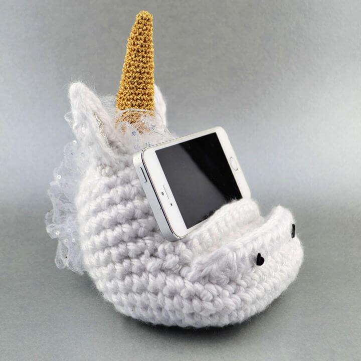 Crochet Unicorn Mobile Cell Phone Holder