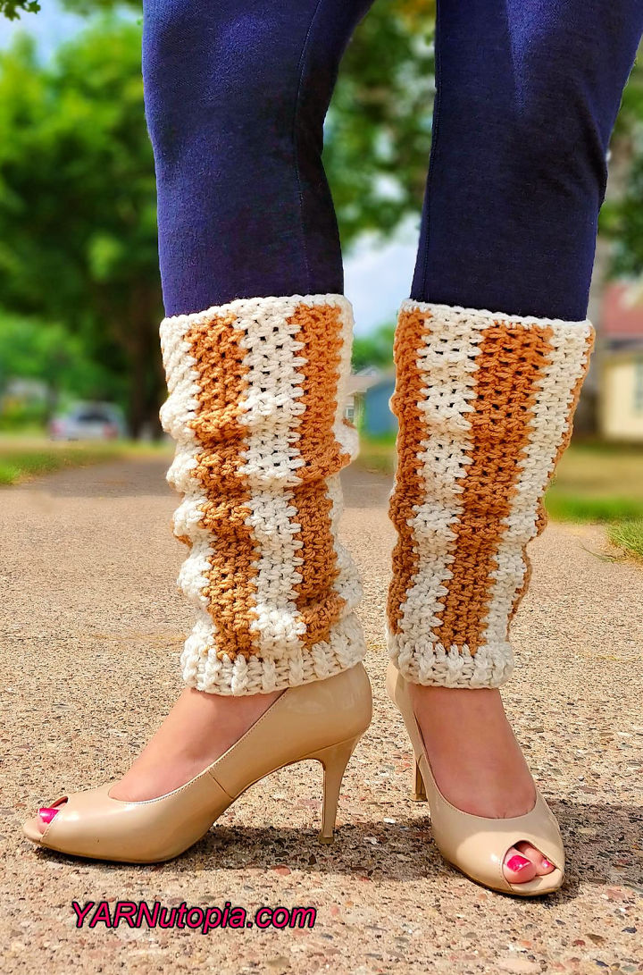 Crochet Vertical Striped Leg Warmers