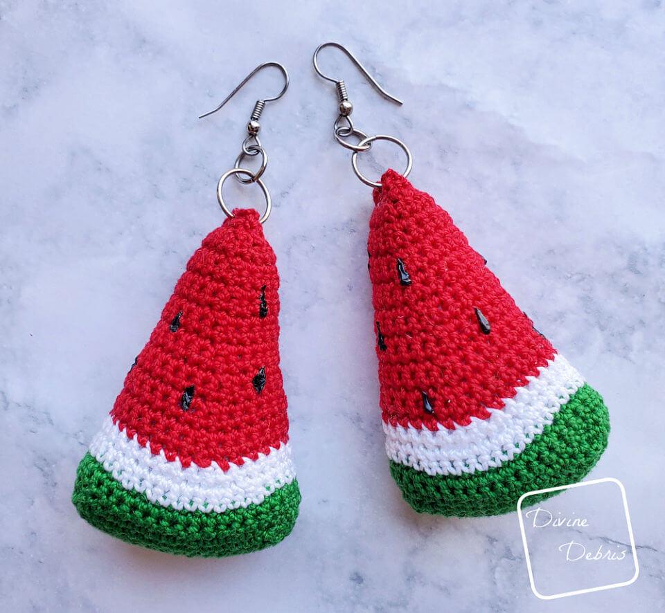 Crochet Watermelon Earrings pattern