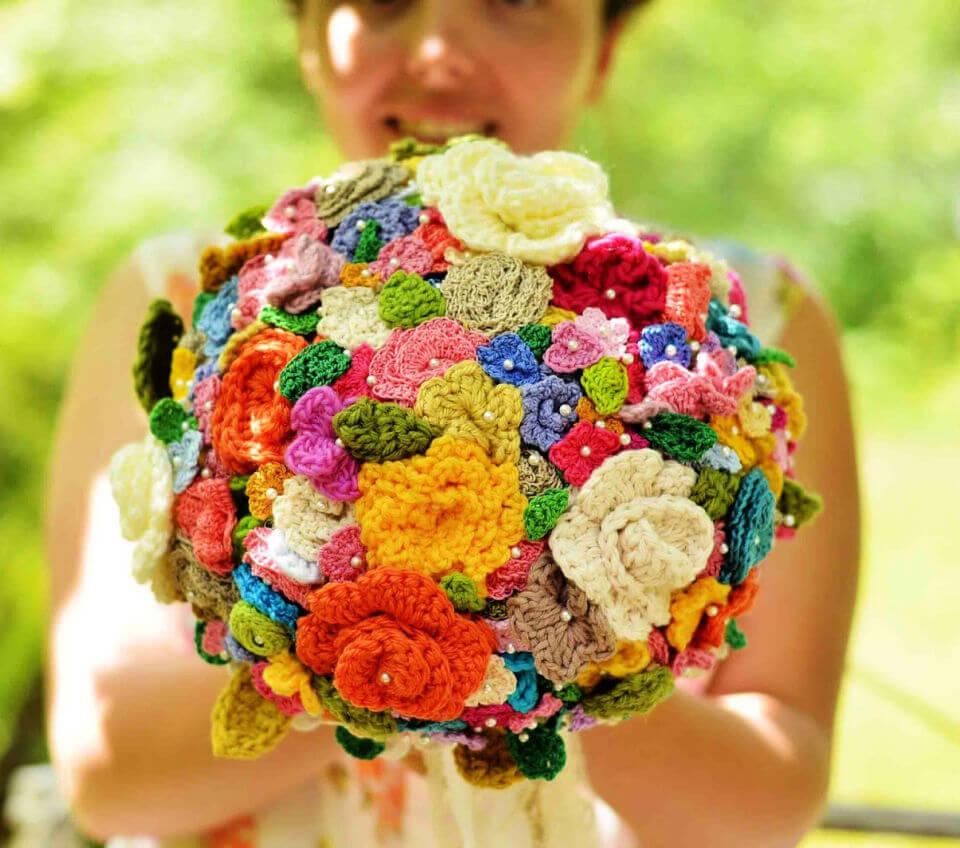 Crocheted Flower Wedding Bouquet Pattern