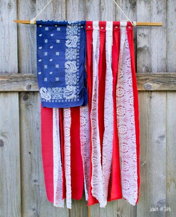 DIY American Flag with Scrap Fabric