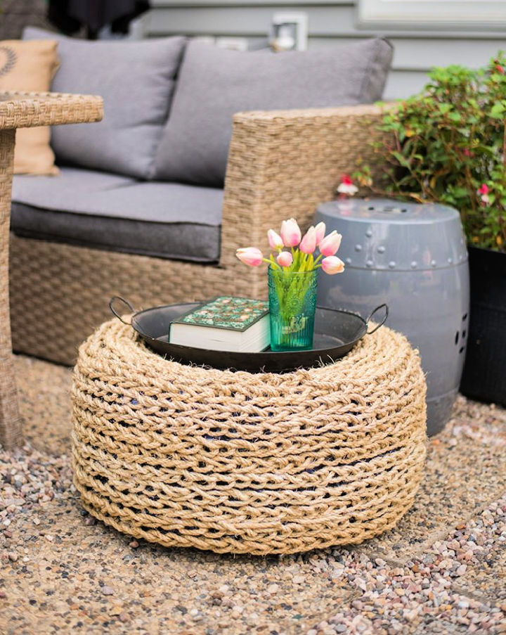 DIY Recycled Tire Ottoman