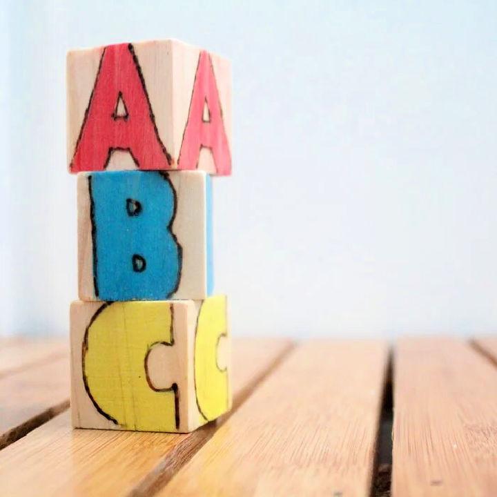DIY Wooden Alphabet Blocks