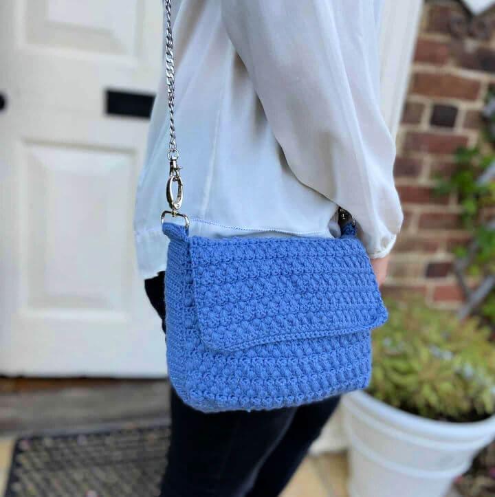 Denim Envelope Crochet Shoulder Bag