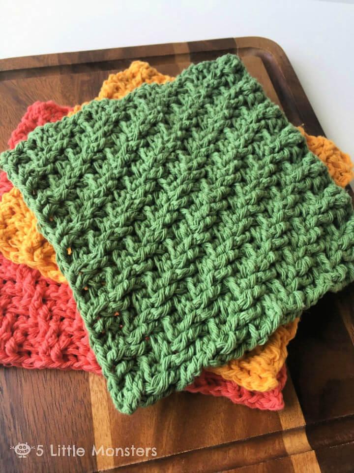 Diagonal Weave Crochet Dishcloths