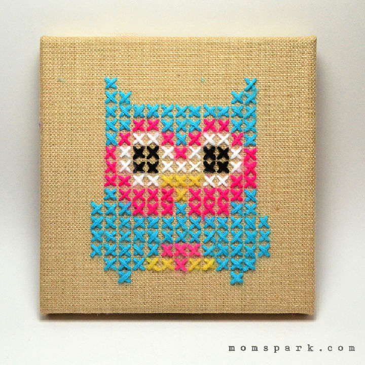 Embroidered Owl Burlap Canvas