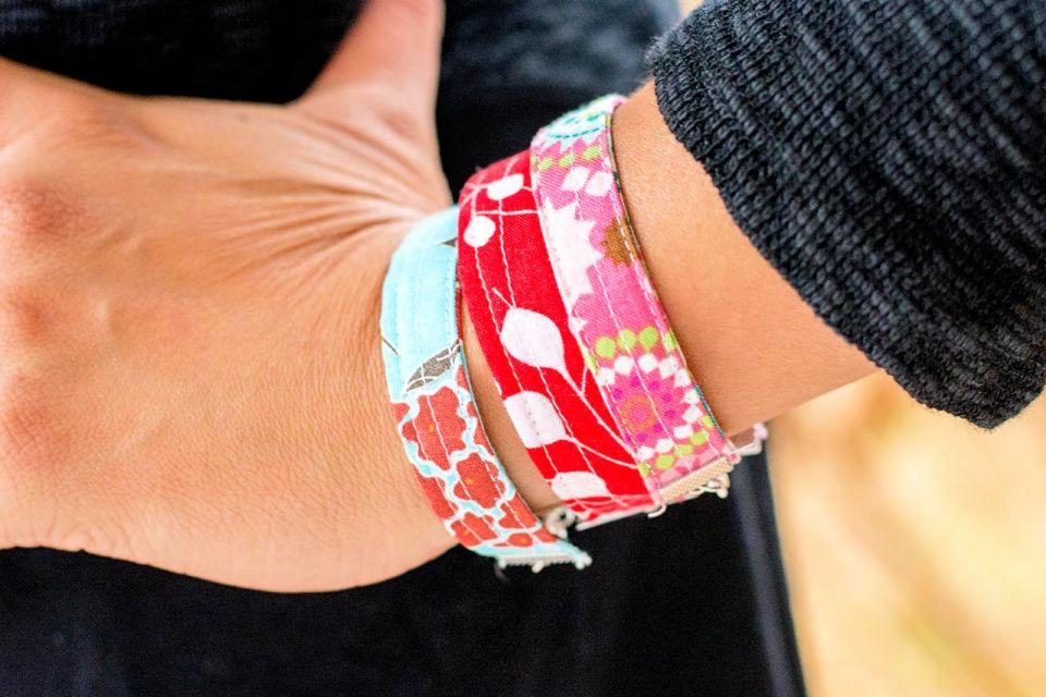 Fabric Bracelets from Scraps