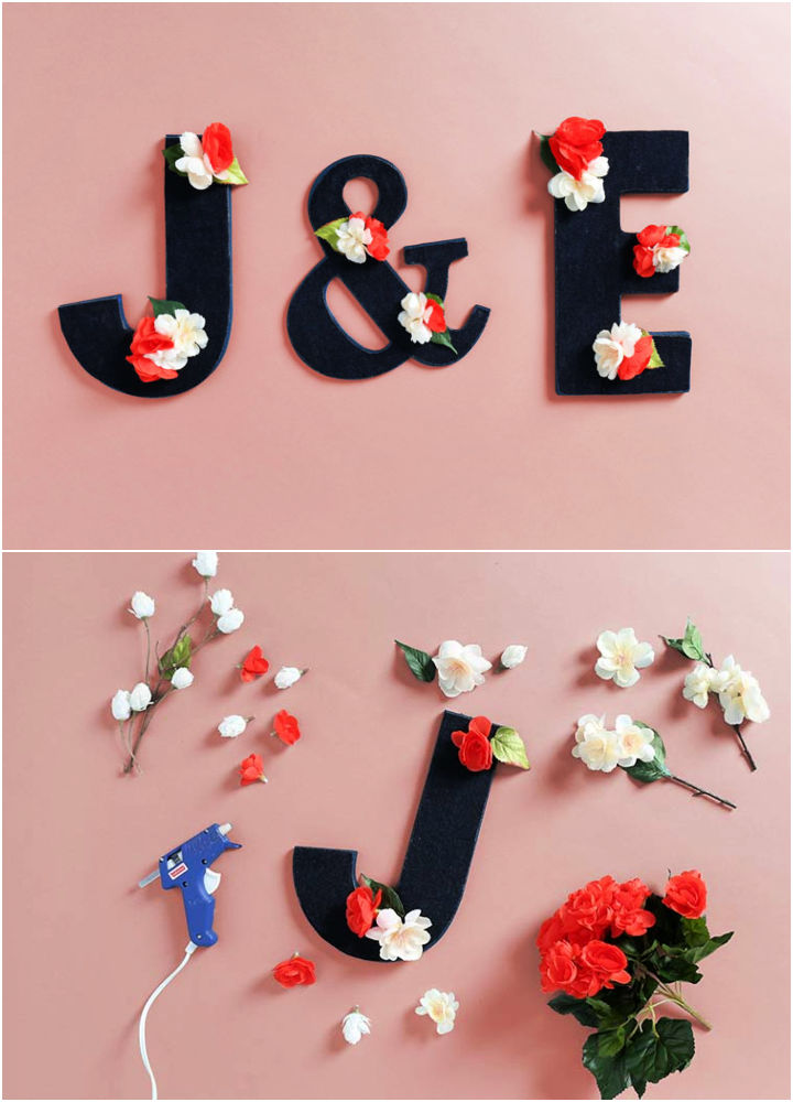 Floral and Fabric Wood Letters
