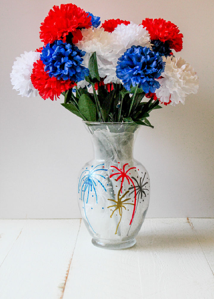 Fourth of July Painted Flower Vase
